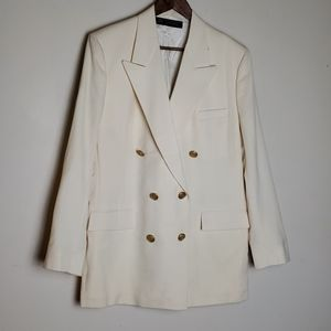 Brooks brothers ivory wool double breasted coat